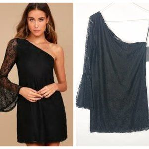 Lulus Come to Play Black Lace One-Shoulder Dress